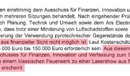 Linz sagt Nein zu Lasershow statt Feuerwerk zum Jahreswechsel