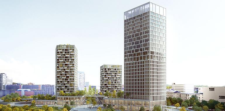 """Das Projekt """"Drei Türme"""" (90m) ensteht in den kommenden Jahren nahe der Grünen Mitte. (Rendering: Kneidinger Architekten)"""