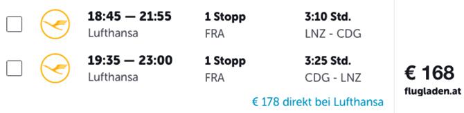 Flüge ab Linz sind durchaus attraktiv: Paris ist etwa um 168 Euro zuhaben.