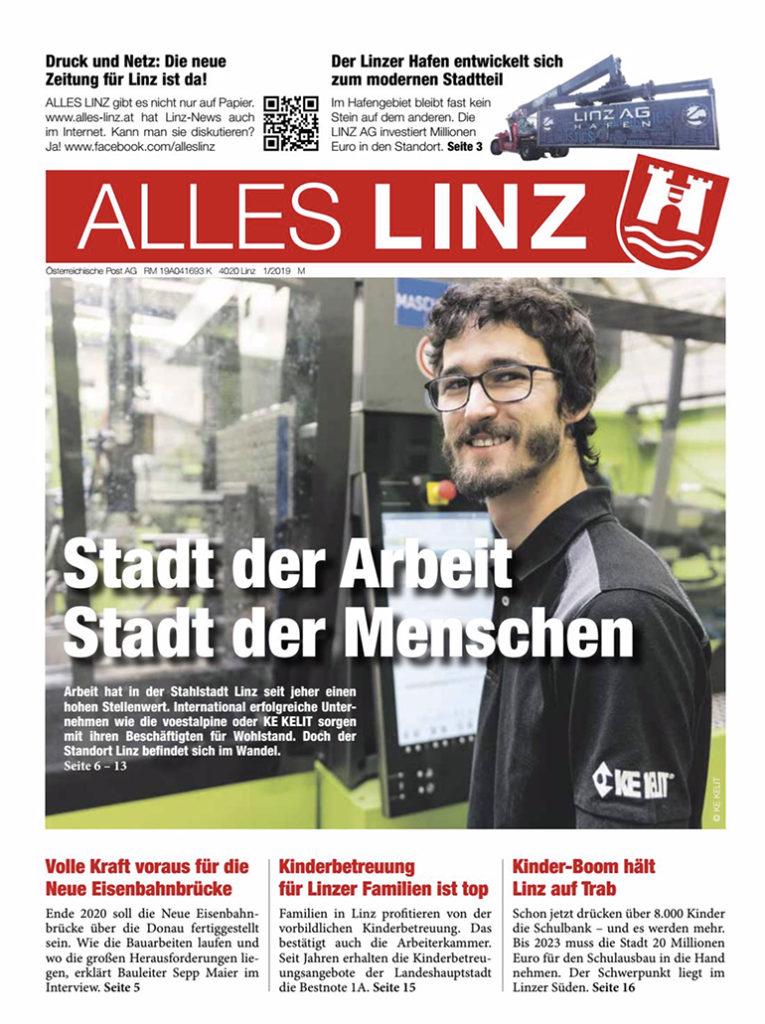 Die Titelseite der SPÖ-Werbepostille ALLES LINZ wirbt mit dem offiziellen Stadtwappen.
