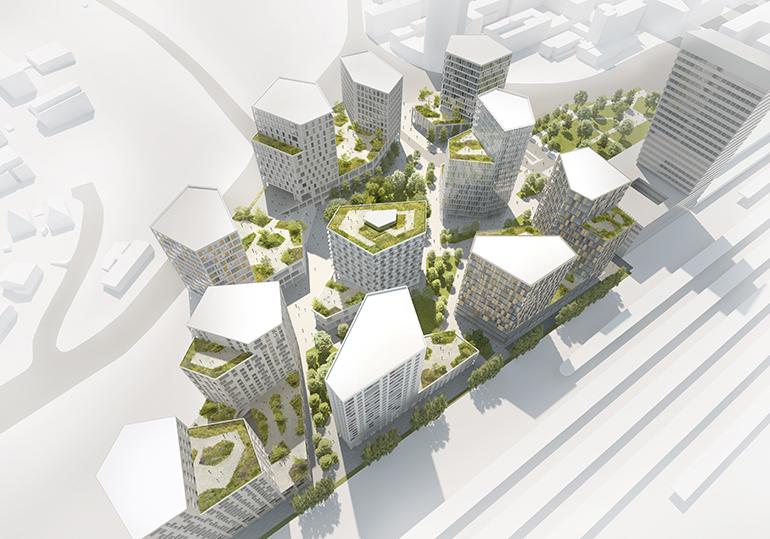 Die Visualisierung der neuen Post City: Es geht mit den elf Türmen knapp bis zu 70 Meter in die Höhe (Foto: Nussmüller/Mathy)
