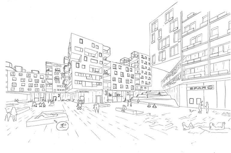 """Mit dem Konzept """"SlowTown"""" für die Bebauung des ehemaligen PostCity Areals wurde die spannende Frage aufgeworfen, ob das vorherrschende Modell einer Stadtentwicklung ausschließlich durch die Umsetzung von Wohnhochhäusern gelöst werden kann."""